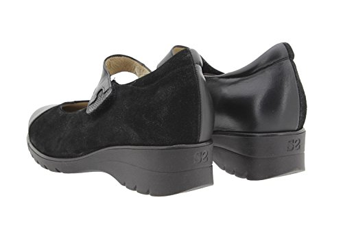 Scarpe donna comfort pelle PieSanto 9953 Mary Jean casual comfort larghezza speciale Negro