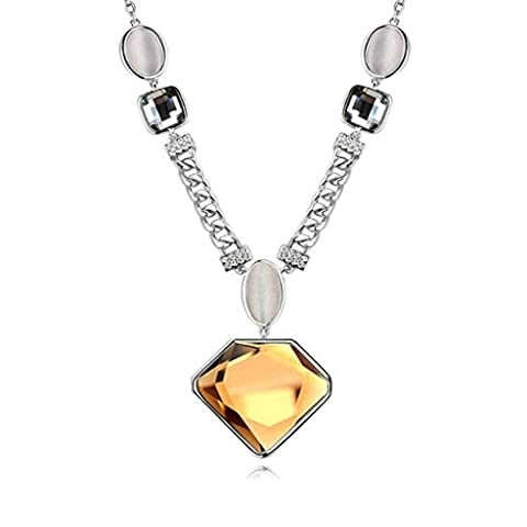 AMDXD Jewelry Gold Plated Women Pendant Necklace Coffee Shining Pentagon