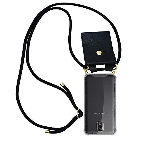 Cadorabo Handy Kette für Samsung Galaxy Note 3 in SCHWARZ - Silikon Necklace Umhänge Hülle mit Gold Ringen, Kordel Band Schnur & abnehmbarem Etui - Schutzhülle