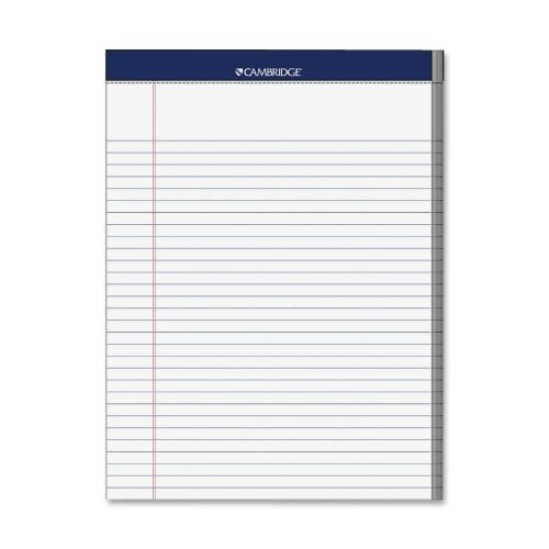 Mead Cambridge Stiff-Back Pad, College Ruled, 3 hole punched, 8.5 x 11 Inches, White(59872) by Mead