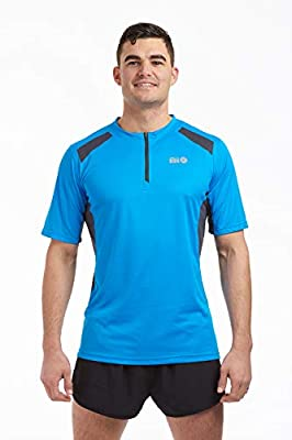 Time To Run Men's Pace Spirit Quick Dry Zip Neck Short Sleeved Technical Running/Gym/Workout T Shirt from time to run