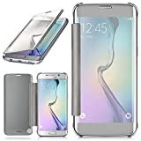 moex Samsung Galaxy S6 Edge | Hülle Transparent TPU Void Cover Dünne Schutzhülle Silber Handyhülle für Samsung Galaxy S6 Edge Case Ultra-Slim Handy-Tasche mit Sicht-Fenster