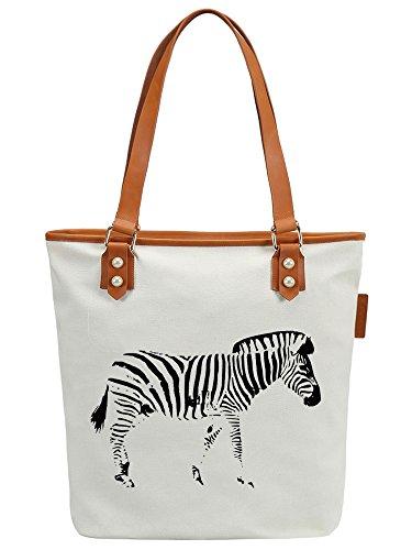 S.CHU Women's Animal Zebra Canvas Leather Tote Handbag Ladies Shoulder Bag (Handtasche Zebra-print Satchel)
