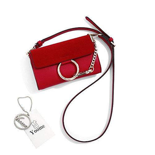 Borsa a tracolla in ottone Yoome Borsa a tracolla circolare Anello per borse per donne Borse mini borse per adolescenti - Nero Rosso