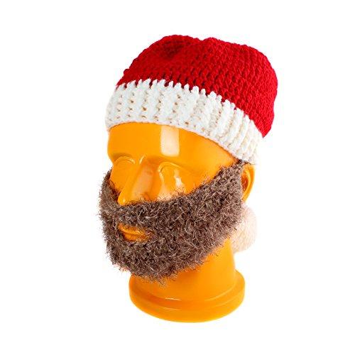 Winter Weihnachten Santa Kleid bis Kostüme Mütze Strickmütze mit Bart Schnurrbart Maske Cosplay Party Supplies (Braun Kostüm Und Schnurrbart Bart)