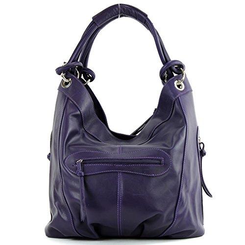 modamoda de - ital. Handtasche Damentasche Schultertasche Ledertasche Tasche Nappaleder Z18 Dunkellila