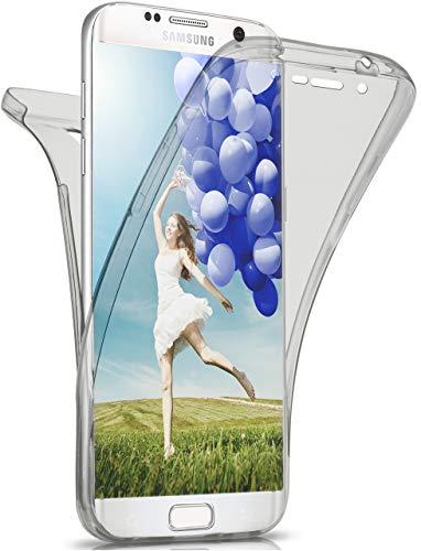 MoEx® Beidseitige Silikonhülle [Vorder + Rückseite] passend für Samsung Galaxy S6 Edge | 360 Grad Cover mit Komplett-Schutz - durchsichtig, Grau