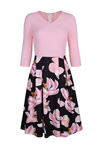 Brinny Robes de Soirée et Bureau Décontracté Vintage Poches Patchwork Puffy Swing pink