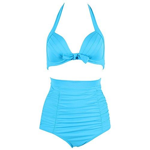 FeelinGirl Dunkelblauer Polka Dot Pönktchen Retro PinUp Vintage Bikini mit hoher Taille und rotem Oberteil 3XL Hellblau (Polka Dot Blau Bikini-badeanzug)