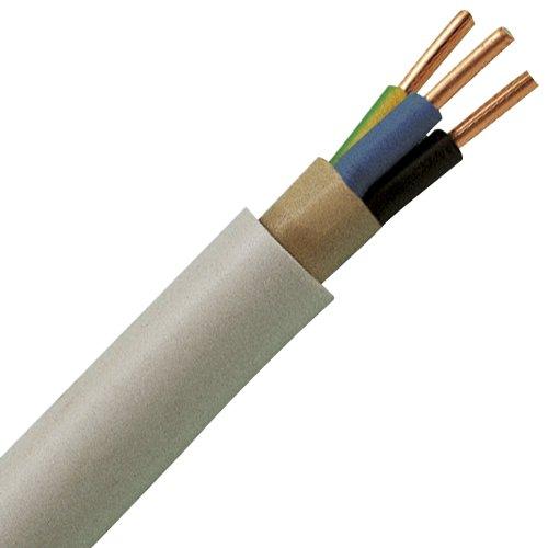 Preisvergleich Produktbild Kopp Mantel-Leitung 3 adrig, NYM-J 3x1.5 mm² (10m) Strom-Kabel für feste Verlegung, 300V/500V, elektrische Leitung für Feuchtraum, grau, 150810841