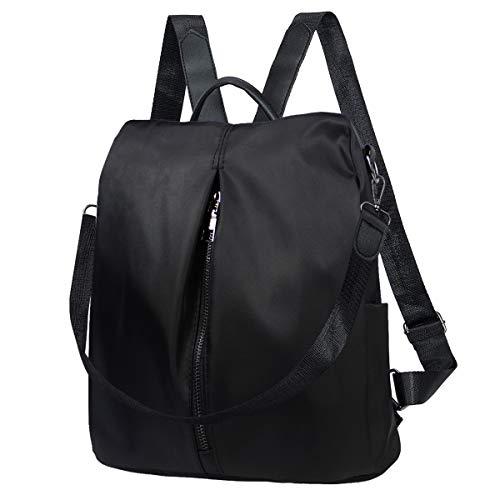 Donna Zaini, Nylon Borsa Casual Zaino Impermeabile Leggero Cartella Fashion Daypack Zainetti Borsetta Backpack Per Ragazze Signore - 30 * 28 * 15 cm (Nero)