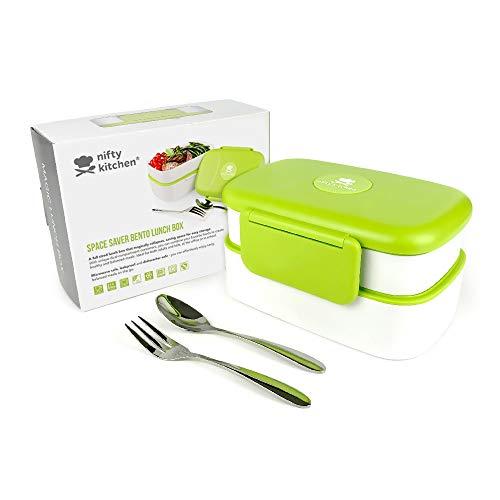 Porta pranzo magic space - bento box a 2 scomparti con coperchio a tenuta stagna per prevenire i versamenti - adatto per forno a microonde, per adulti. include posate, divisori ed ebook di ricette