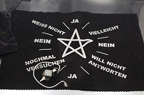 Panotophia Pendel Set Pentagramm schwarzer Achat mit Pendeltuch und Beutel