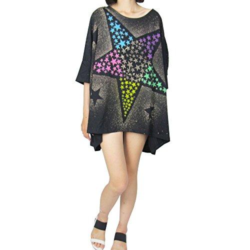 One-shoulder-star (Women Plus Size Drop Shoulder Batwing Hi-Low Hem Tee Shirt Casual Top, Star pattern)