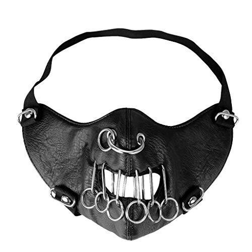 Staresen Métal clouté Steampunk en cuir masque Biker Hommes demi visage masque Airsoft Vent Cool Punk Rivets Noir mascarade masque en cuir 24 x 15cm