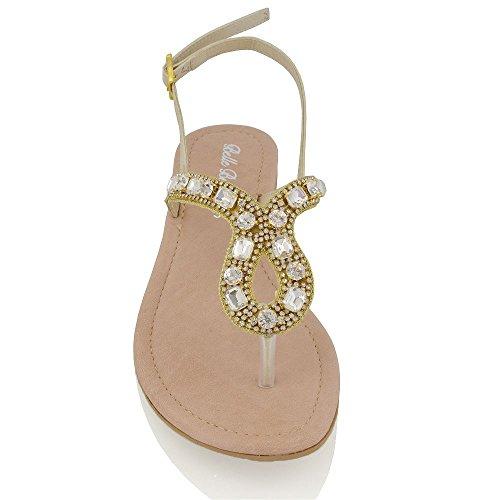 Essex Glam Sandalo Donna Vacanza Finto Diamante con Cinturino Posteriore Effetto Scintillante Oro