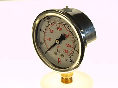 THERMIS Manometer 304G 1/4 Anschluss von unten (0 - 160 bar) 63 mm -