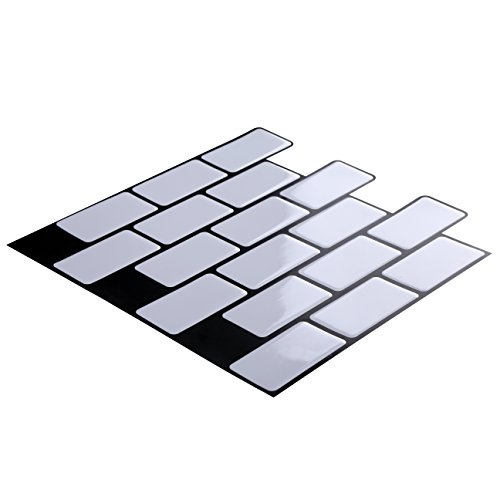 "Wall Crafts 3D Wall Stickers Peel and Stick on Tiles for Kitchen/Bathrooms / Living Rooms/Bedrooms Tiles Stickers Mosaic Tiles, 12""x12"", 10 pcs Pack, Subway Tile, Pure White Color"