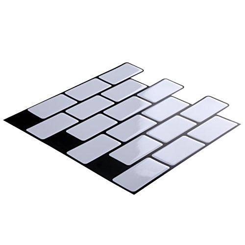 Wall Crafts 3D Mosaik Fliesensticker Selbstklebend 10 Stück für Küche Bad, Vinyl Fliesenfolie Schwarz Weiss Grau Wandtattoo, 30,5 x 30,5cm Fliesen Aufkleber Folie Sticker Wanddeko (Schwarz-vinyl-fliesen)
