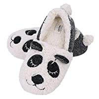 Panda Wool Slippers, Women Girls Thermal Full Plush Slippers Indoor Slip on Slippers with Warm Wool Lining Clog Mule Skid-Proof Sole Footwear Home House Shoes Creative
