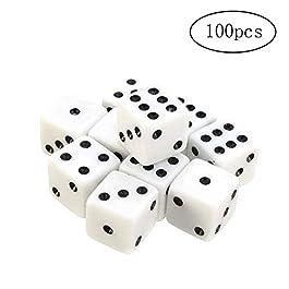 TaoNaisi 100 Confezioni di Dadi Bianchi 8 mm con Puntini Neri per i Giochi da Tavolo, attività, temi Casinò, bomboniere…