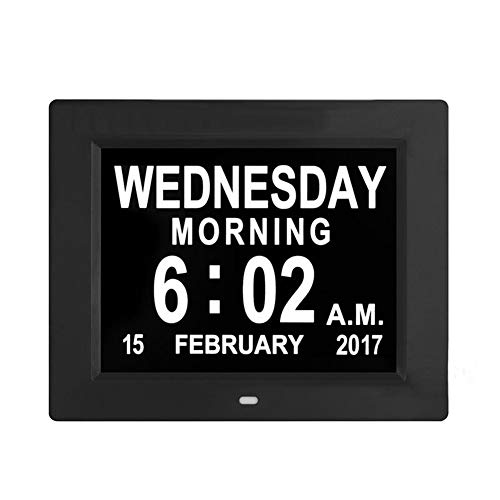 """FOOSKOO Day Clock Digitaler Kalender Tag Uhr 8\""""Zoll LCD-Digitaluhr Kalender Datum Tag Zeitschaltuhr Extra Große Nicht Abgekürzt Auto Dimmen HD Display Erinnerung Alzheimer (Farbe : SCHWARZ)"""