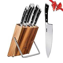 Aicok Messerblock Set | Messerset | Profi Kochmesser mit Präzisionsklingen | 6-teilig| Extra Scharf | rostfreier Edelstahl | ergonomische Griffe | High Carbon Edelstahl