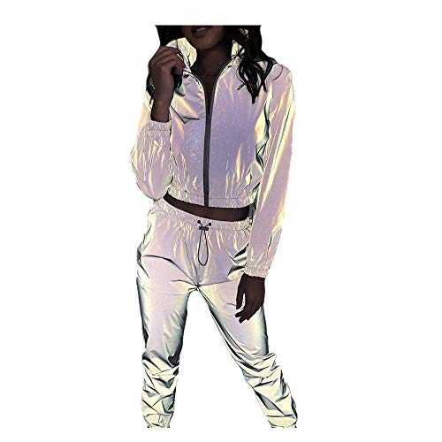 Damen Reflektierende Splitter Zweiteilige Set Trainingsanzug mit Reißverschluss Reflective Jacket+Hose,Elastische Sport Bekleidung Streetwear Leuchtend Kleidung Hip-Hop-Tanzoutfits