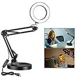 Neewer 6 Pulgadas LED Luz Escritoria de Anillo, Lámpara de Lectura para Cuidado de Ojos Lámpara de Mesa para Oficina/Hogar (3 Niveles de Brillo Regulable) con Puerto de Salida USB