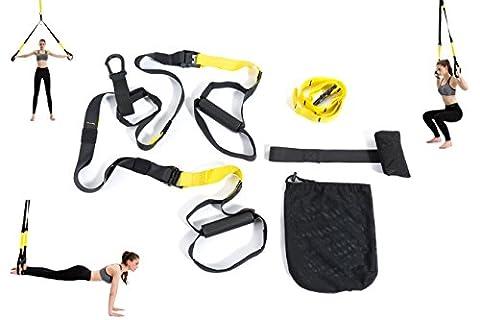 Varanda Suspension Trainer kit, Plus léger, Leanest Suspension Trainer Sangles avec poignées–Idéal pour Home Gym séance d'entraînement, le voyage et l'intérieur et extérieur,