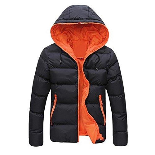 VEMOW Herren Slim Lässige warme Jacke Herbst Winter mit Kapuze dicken Mantel Parka Casual Sport Wandern Mantel Hoodie(Orange, EU-50/CN-XL)