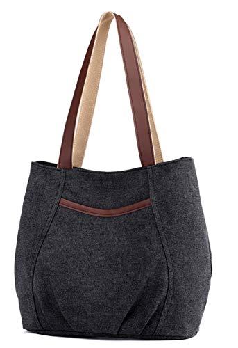 Damen Canvas Schultertasche Frauen Handtasche Casual Umhängetaschen Hobo Tote Shopper Bag für Arbeit Schule Reise Schwarz -