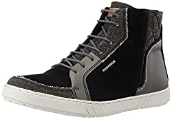 Provogue Mens Black and Grey Leather Sneakers - 6 UK/India (40 EU) (7 US)