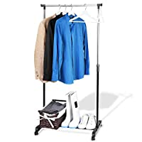 EVELYN LIVING Garment Rack On Wheels Clothes Drying Coat Hanging Rail Storage Stand Height Adjustable