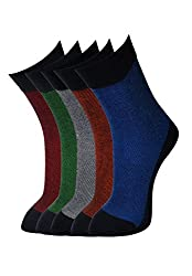 VINENZIA COTTON 5 PAIR SELF DESIGN MENS CREW LENGTH SOCKS
