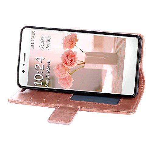 Huawei P8 Lite Hülle Gold, Huawei P8 Lite 2015 Handytasche Rosa Schleife PU Ledertasche Flip Wallet Book Case Embossed Mandala Schutzhülle mit Magnet Kartenfächer Standfunktion Handyhülle Etui für Hua 1 - Rose Gold