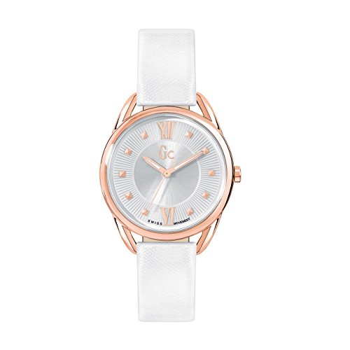 Guess Collection Lady Chic y13003l1–Quartz Ladies Watch, White Leather Strap and Attached Other Coral Leather Strap.