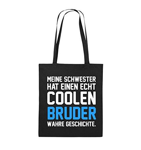 Comedy Bags - Meine Schwester hat einen echt coolen Bruder wahre Geschichte. - Jutebeutel - lange Henkel - 38x42cm - Farbe: Schwarz / Weiss-Neongrün Schwarz / Weiss-Hellblau