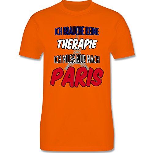 Städte - Ich brauche keine Therapie ich muss nur nach Paris - Herren Premium T-Shirt Orange