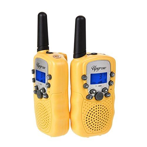 2x Walkie Talkies Set Kinder Funkgeräte 3KM Reichweite 8 Kanäle mit Taschenlampe Walki Talki Kinder Spielzeug (gelb)