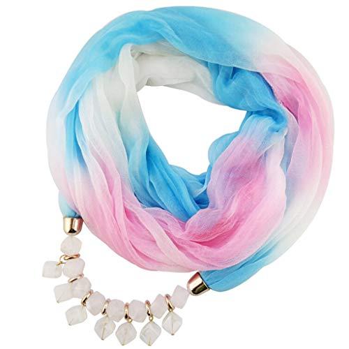 VEMOW Heißer Verkauf Elegante Damen Anhänger Schal Mit Chiffon Strass Schmuck Schals Schritt für Schritt Farbigen Stolen(F, 60cm-80cm)