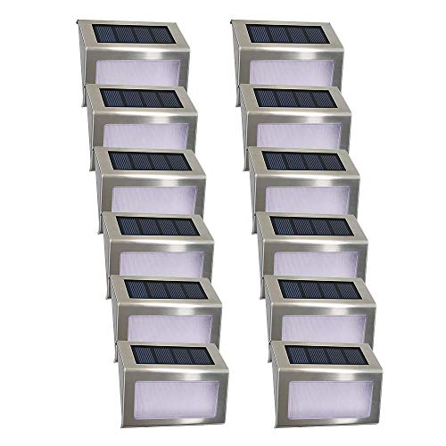 Sobre nosotros:   Easternstar Solar Stair Light    Especificación:   Panel solar: Monocristalino 2V 120MA  Tipo de LED: Reflector  Fuente de luz: 4PCS LED  Color claro: blanco frío  Potencia LED: 0.12W  Lumen: 30LM  Batería: Ni-MH AAA 1.2V 600MAH  M...