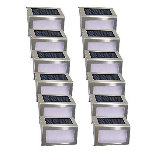 Luce per scale solare Easternstar 4 LED Luci solari da esterno Inossidabile Acciaio impermeabile Lampada per recinzione Giardino Scala Percorso