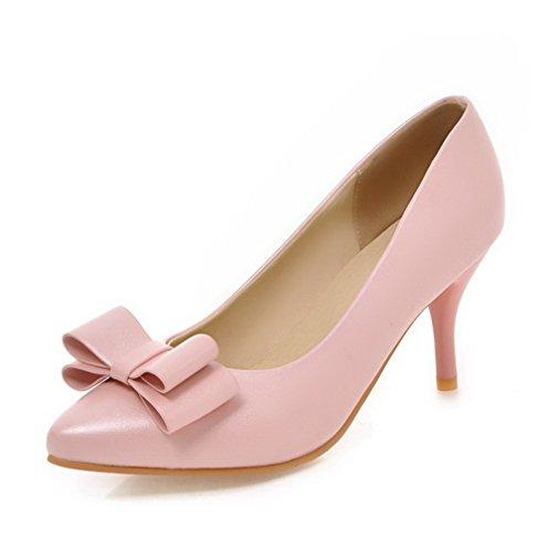 VogueZone009 Femme Pointu Tire Couleur Unie Pu Cuir à Talon Haut Chaussures Légeres Rose