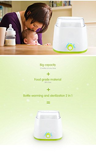 Kiddale-Dual bottle warmer cum sterilizer, BPA free with 3 constant temperature and LED knob control