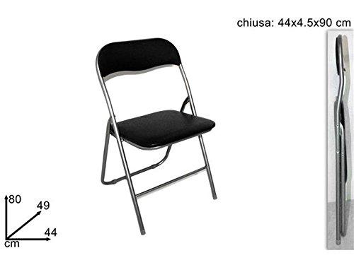 Sedia pieghevole imbottita struttura in metallo per casa e campeggio sedie nera