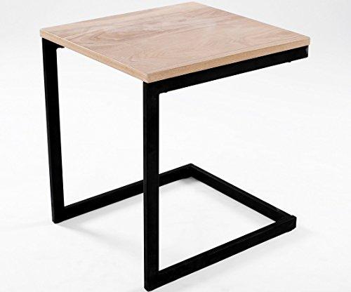 ComptoirXL Table d'appoint Design Industriel Newark 40 cm chêne et Noir