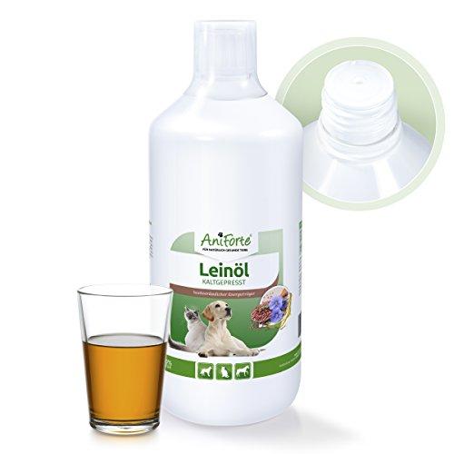 AniForte Lein-Öl 1 L für Hunde, Katzen und Pferde, Nativ, Kaltgepresst, Premium-Qualität, Direkter Energie-Lieferant
