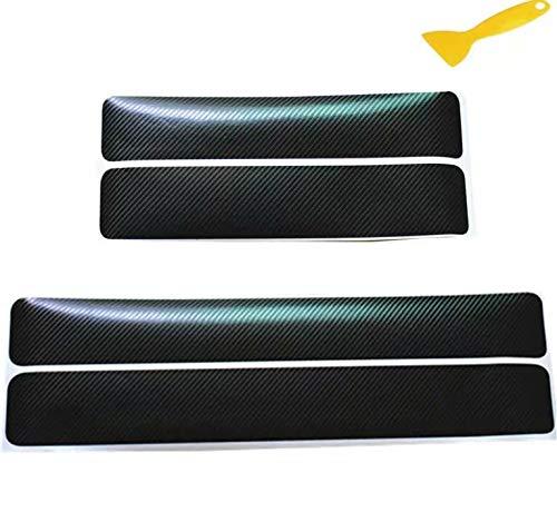 4 protections de seuils de portes de voitures - Protections autocollantes en carbone