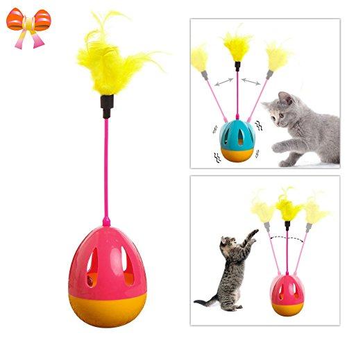 Handfly Katzen Ball Katzenspielzeug Beschäftigung - Katze Spielzeug Bälle,Feder Drehung Katze Spielzeug,Interaktive Feather Tumbler Katzenspielzeug